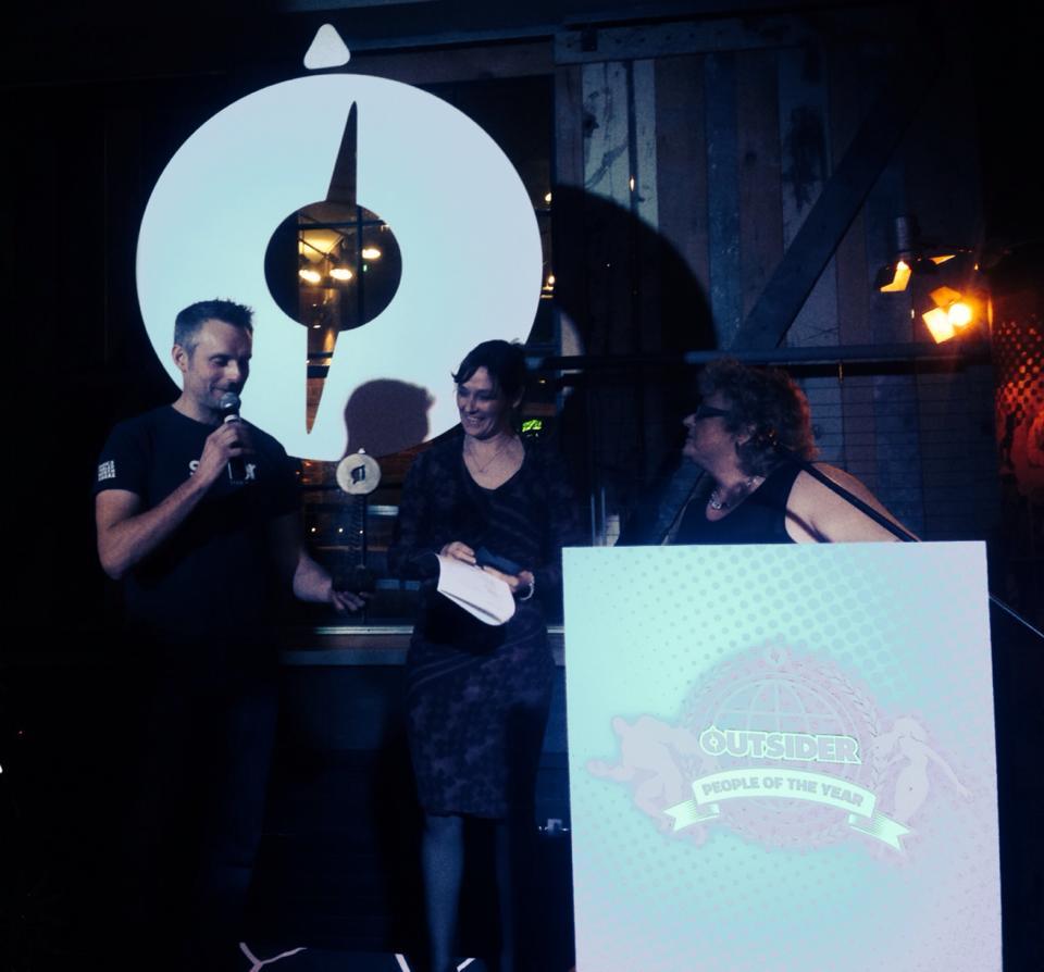 Carl collecting Outsider award