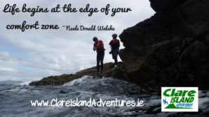 Edge of your comfort zone, coasteering off Clare Island Ireland